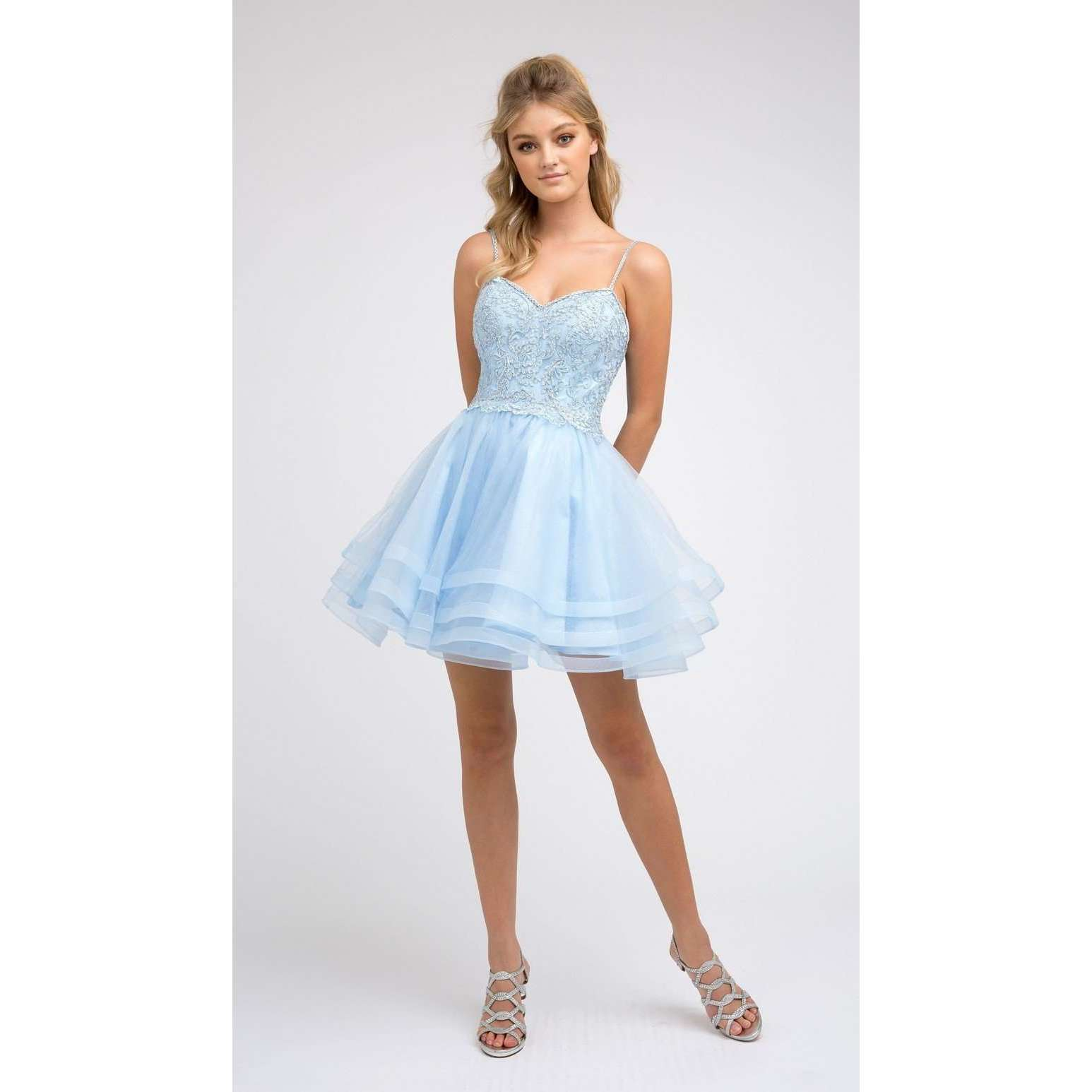 Embroidered Bodice Layered Skirt Homecoming Dress 849 - Julietdresses