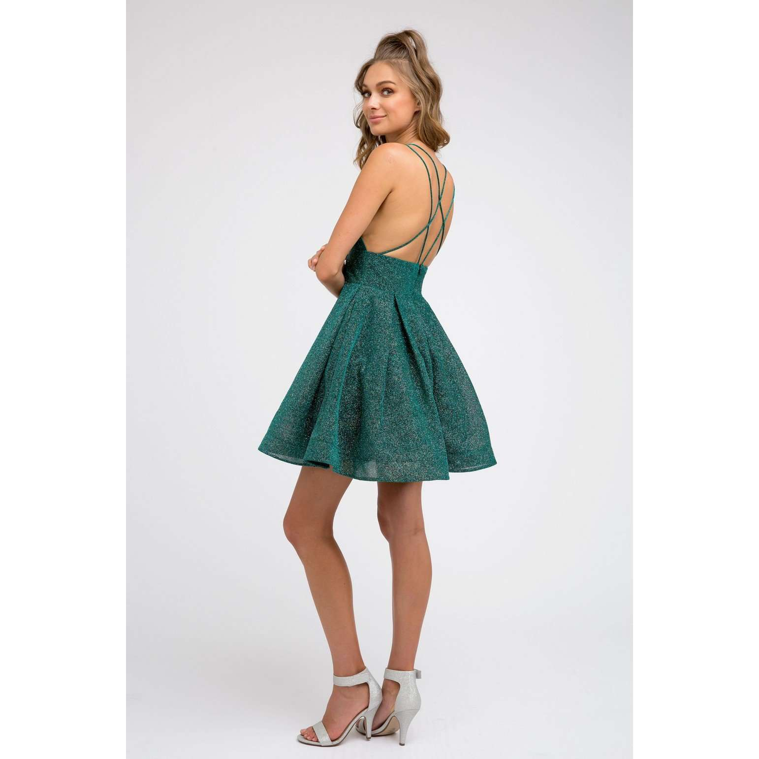 Glitter Fit and Flare Party Dress 850 - Julietdresses