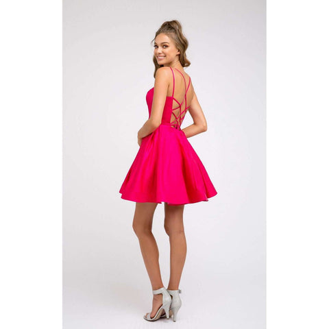 Rounded Neckline Flare Party Dress 852 - Julietdresses