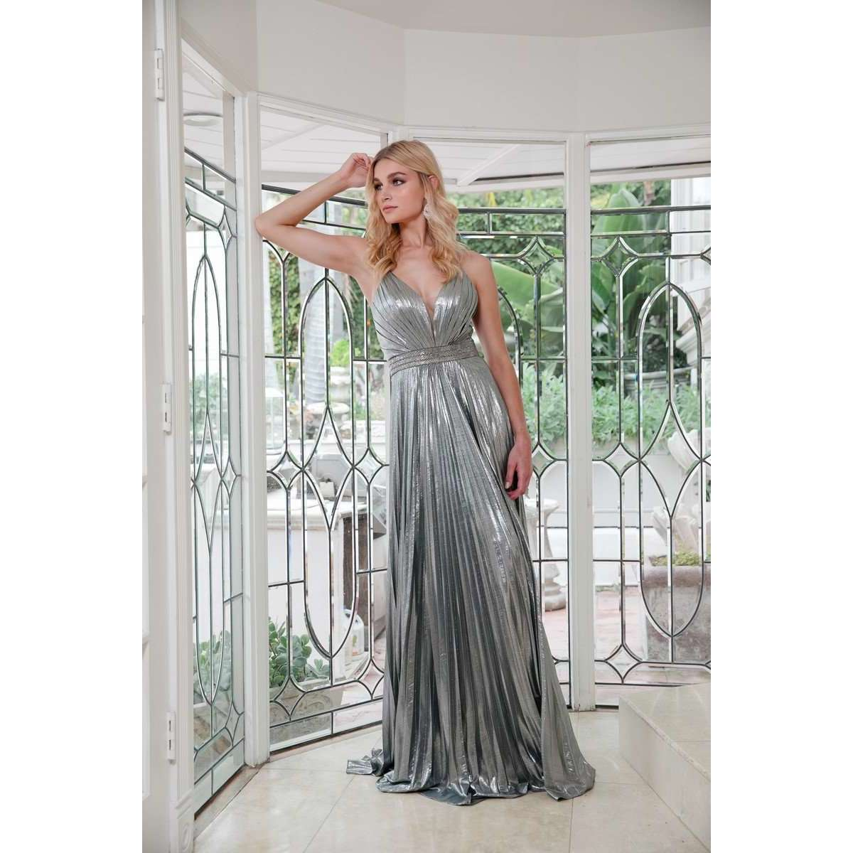 Pleated V-Neck Prom Evening Dress 226 - Julietdresses