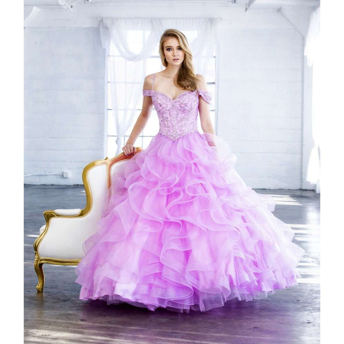Beaded Embroidery and Ruffled Tulle Ballgown 1421 - Julietdresses