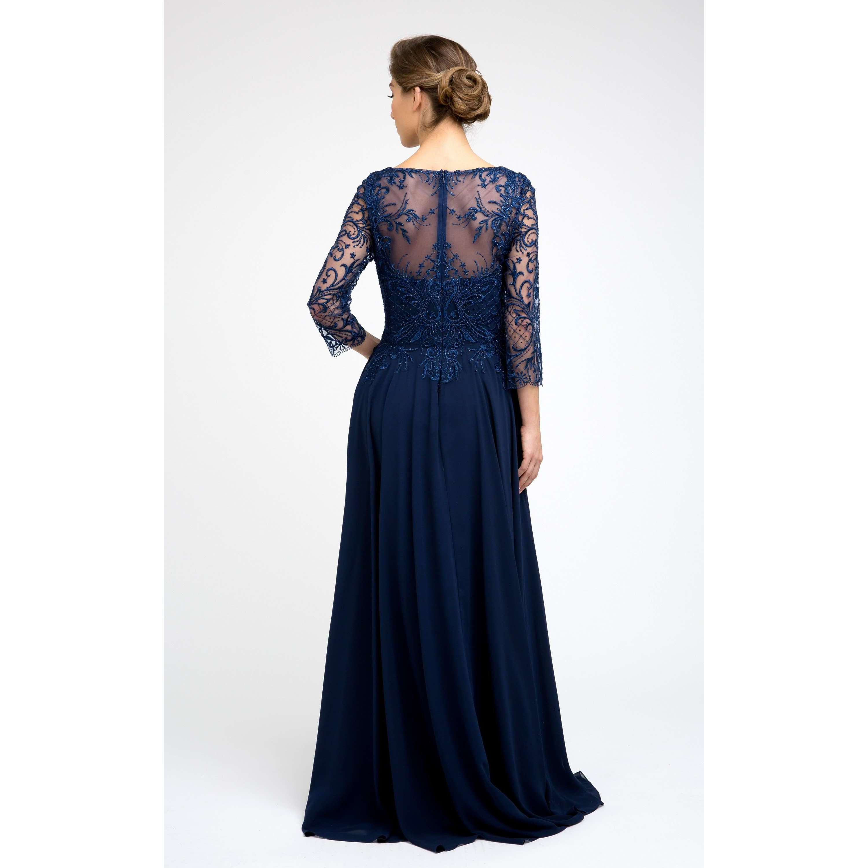 Embroidered Lace  Beaded Bodice Gown M11 - Julietdresses