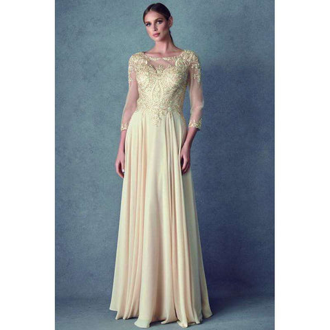 Embroidered Lace Applique Long Sleeve Gown M12