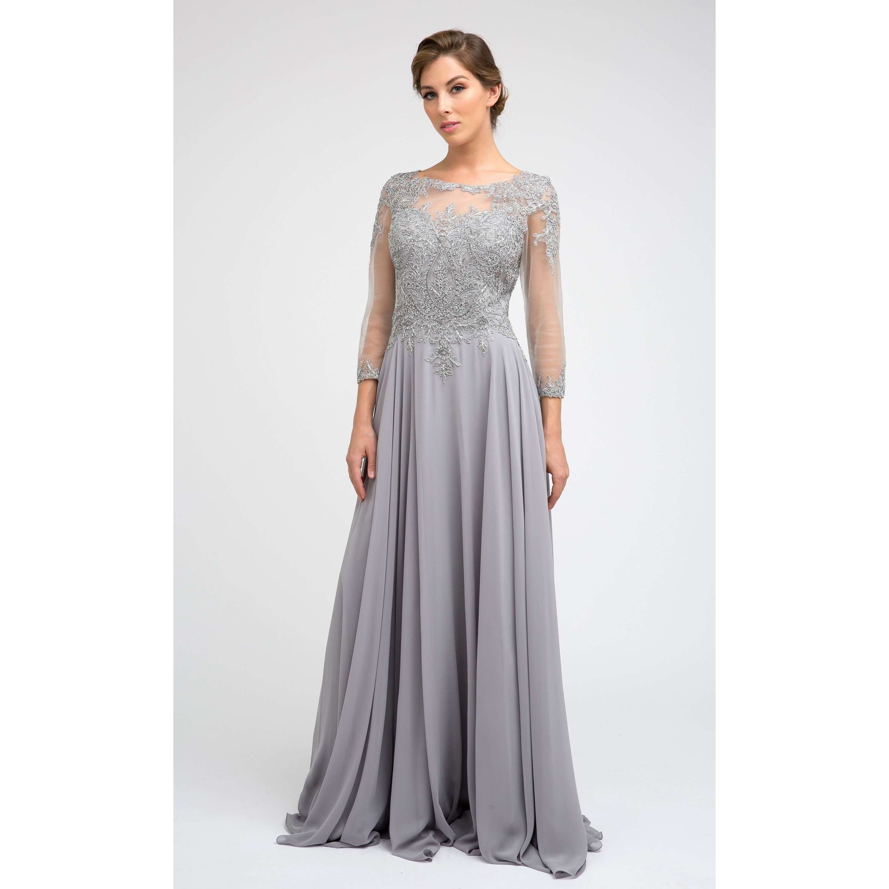 Embroidered Lace Applique Long Sleeve Gown M12 - Julietdresses