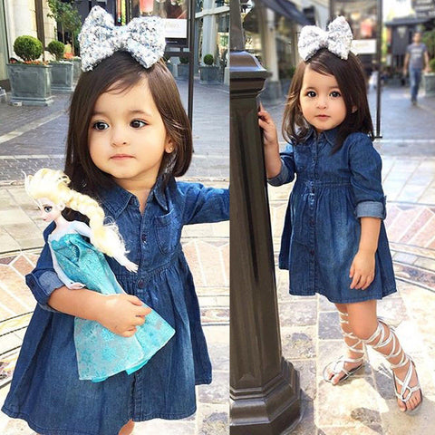 Girls Denim One Piece Long Sleeve Dress