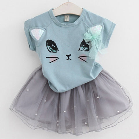Girls Cute Kitten Printed Dress