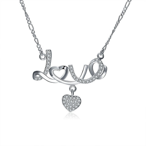Jewelry/ Women's—Crystal Diamond Love Heart Pendant Necklace