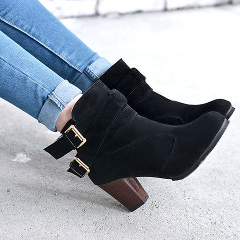 New Woman Martin boots PU Leather Thick heels Ankle Boots for  Autumn Winter Fashion zipper buckle shoes