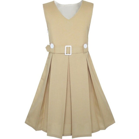 Girls Dress Khaki Button Back School Uniform Pleated