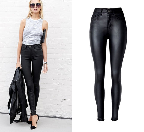 Women High Waist slim Skinny Jeans,Faux leather