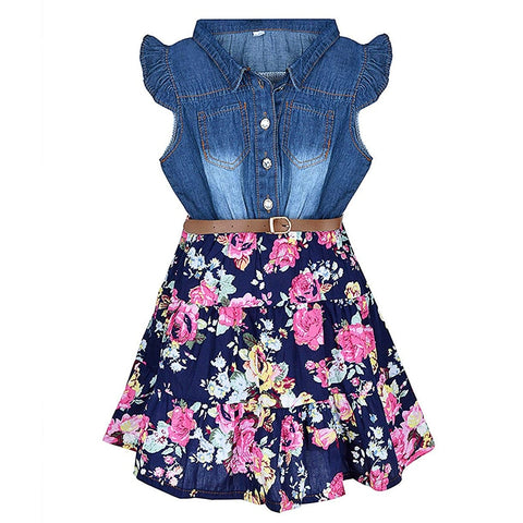 Girls Denim Floral Swing Ruffle dress with Belt