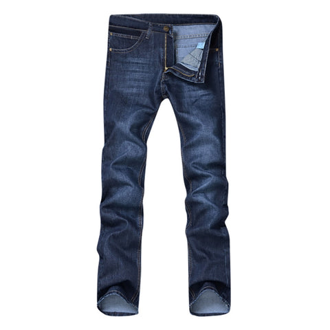 Men's Casual Autumn Denim Solid Cotton Loose Work Jeans