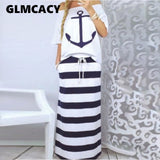 Women's Two Piece Boat Anchor Print T-Shirt & Striped Skirt Set