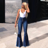 Sparkly Rhinestones Sexy Denim Trouser Women High Waist Bell-Bottomed Pants