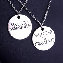 Colar Game of Thrones Winter Is Coming & Valar Morghulis - FRETE GRÁTIS