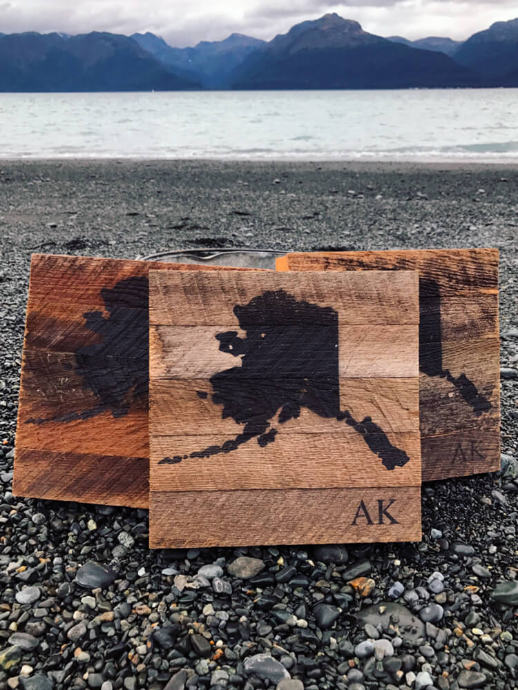 Barnwood Alaska Map Sign