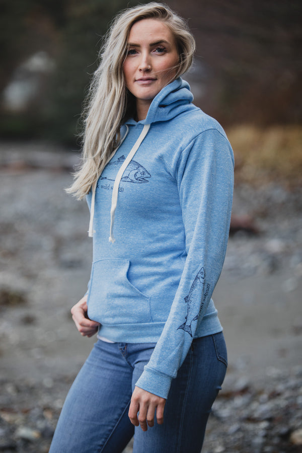 Forgetmenot Blue AK Wild Salmon Triblend Pullover Hoody $60.00