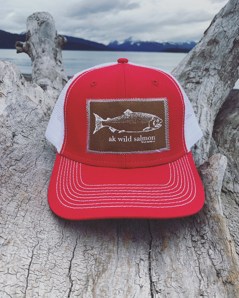 Beach Red AK Wild Salmon Patch Hat $35.00