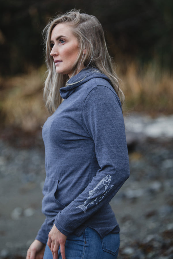 Midnight AK Wild Salmon Triblend Lightweight Pullover $55.00
