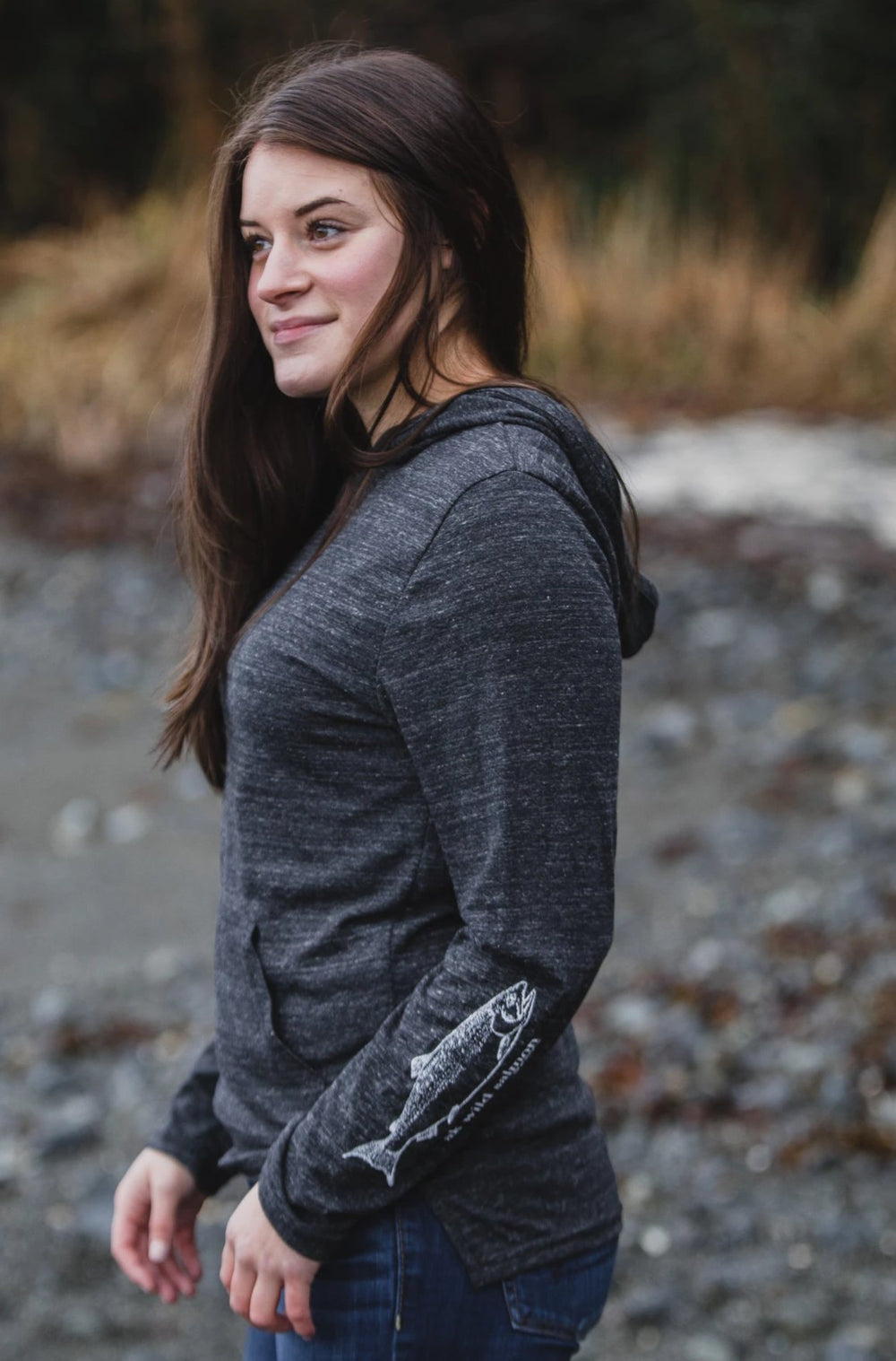 Slate AK Wild Salmon on Sleeve Triblend Lightweight Pullover $55.00