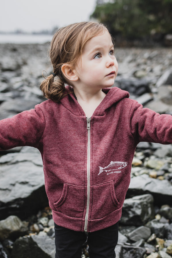 Beach Rose AK Wild Salmon Children's Triblend Zipped Hoody $45.00