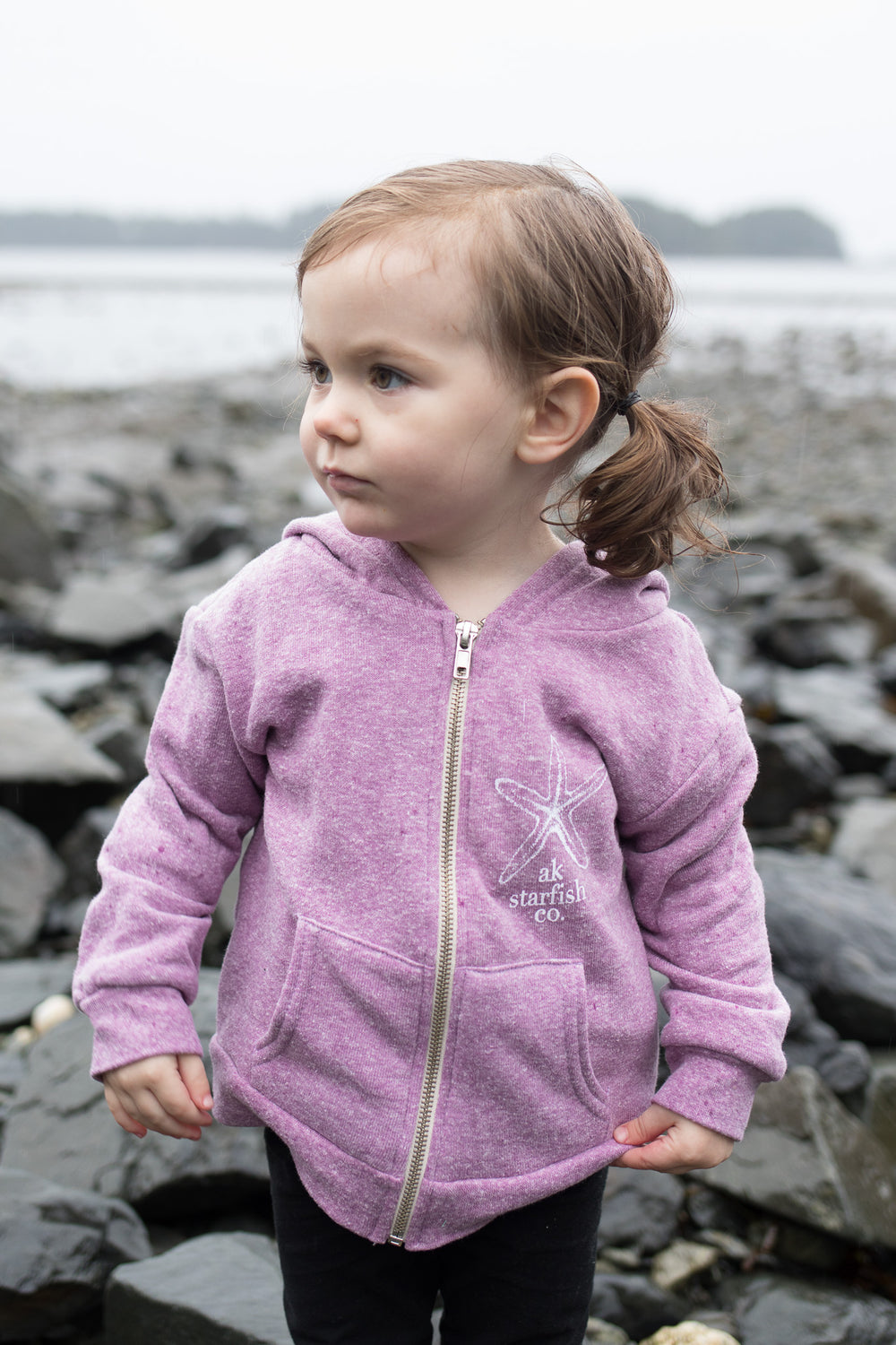 Beach Mussel Shell AK Starfish Co. Children's Triblend Zipped Hoody