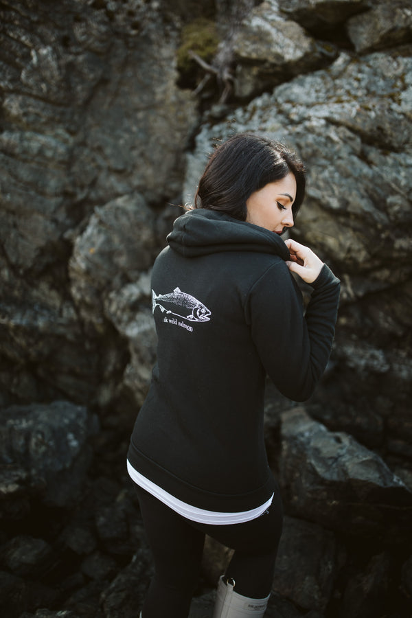 Black AK Wild Salmon 50/50 Zipped Hoody $65.00