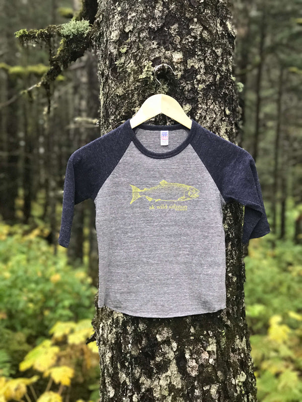 Beach Navy & Heather Gray AK Wild Salmon Children's Baseball Tee $30.00