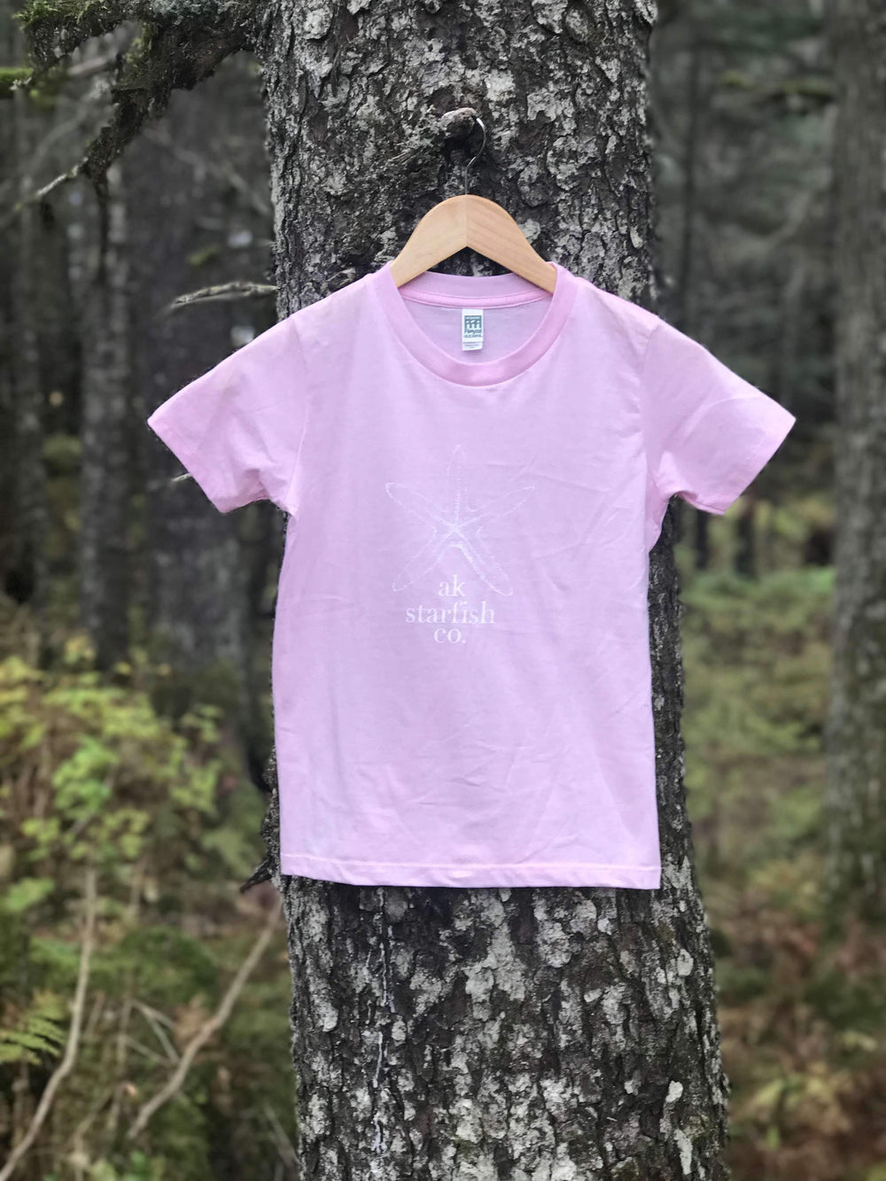 Pale Pink AK Starfish Co. 100% Organic Cotton Short Sleeved Tee $25.00