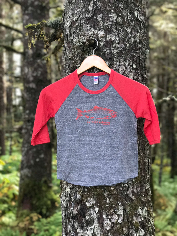 Storm with Red Sleeve AK Wild Salmon 3/4 Sleeve Raglan $30.00