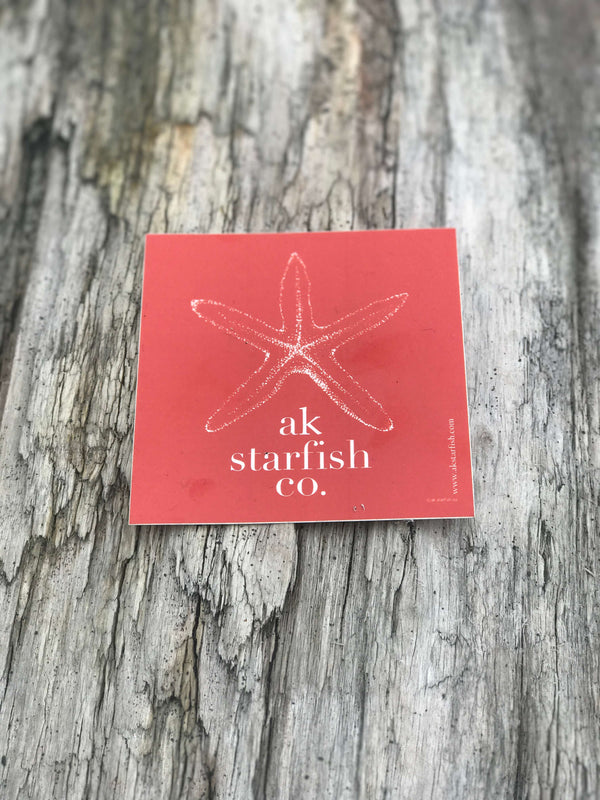 Beach Red AK Starfish Co. Sticker $6.00