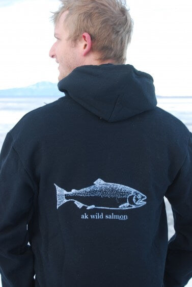 Black AK Wild Salmon 50/50 Zipped Hoody