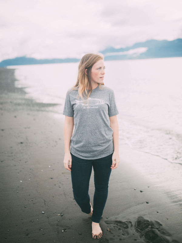 Heather Gray AK Wild Salmon Triblend Short Sleeve Tee $38.00