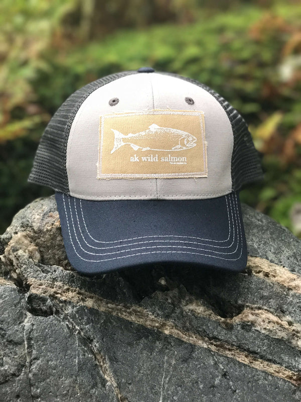 Heathery Gray with Slate AK Wild Salmon Patch Hat 35.00