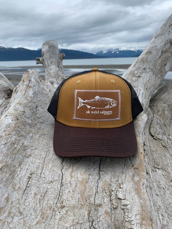 Kelp and Black AK Wild Salmon Patch Hat $35.00