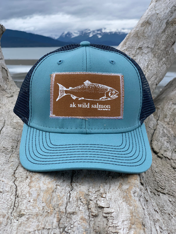 Ice Fishing and Midnight AK Wild Salmon Patch Hat $35.00