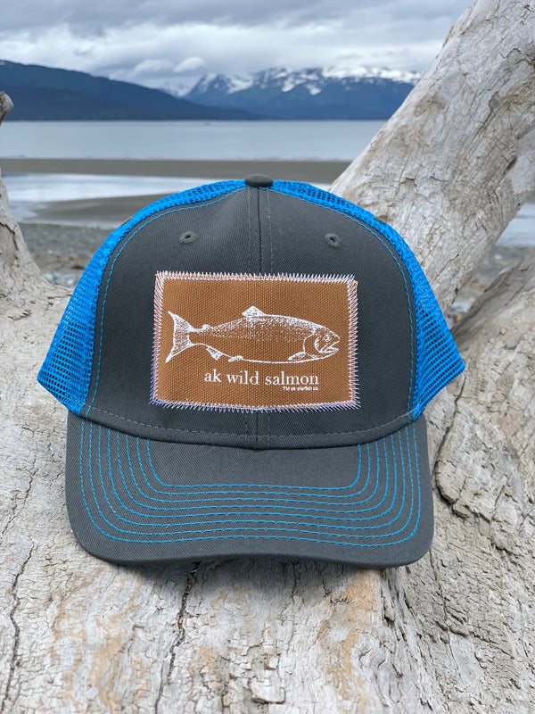 Slate and Alaska Blue AK Wild Salmon Patch Hat 35.00