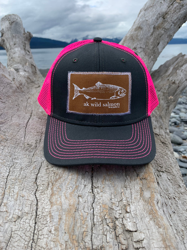 Slate and Glow Pink AK Wild Salmon Patch Hat $35.00