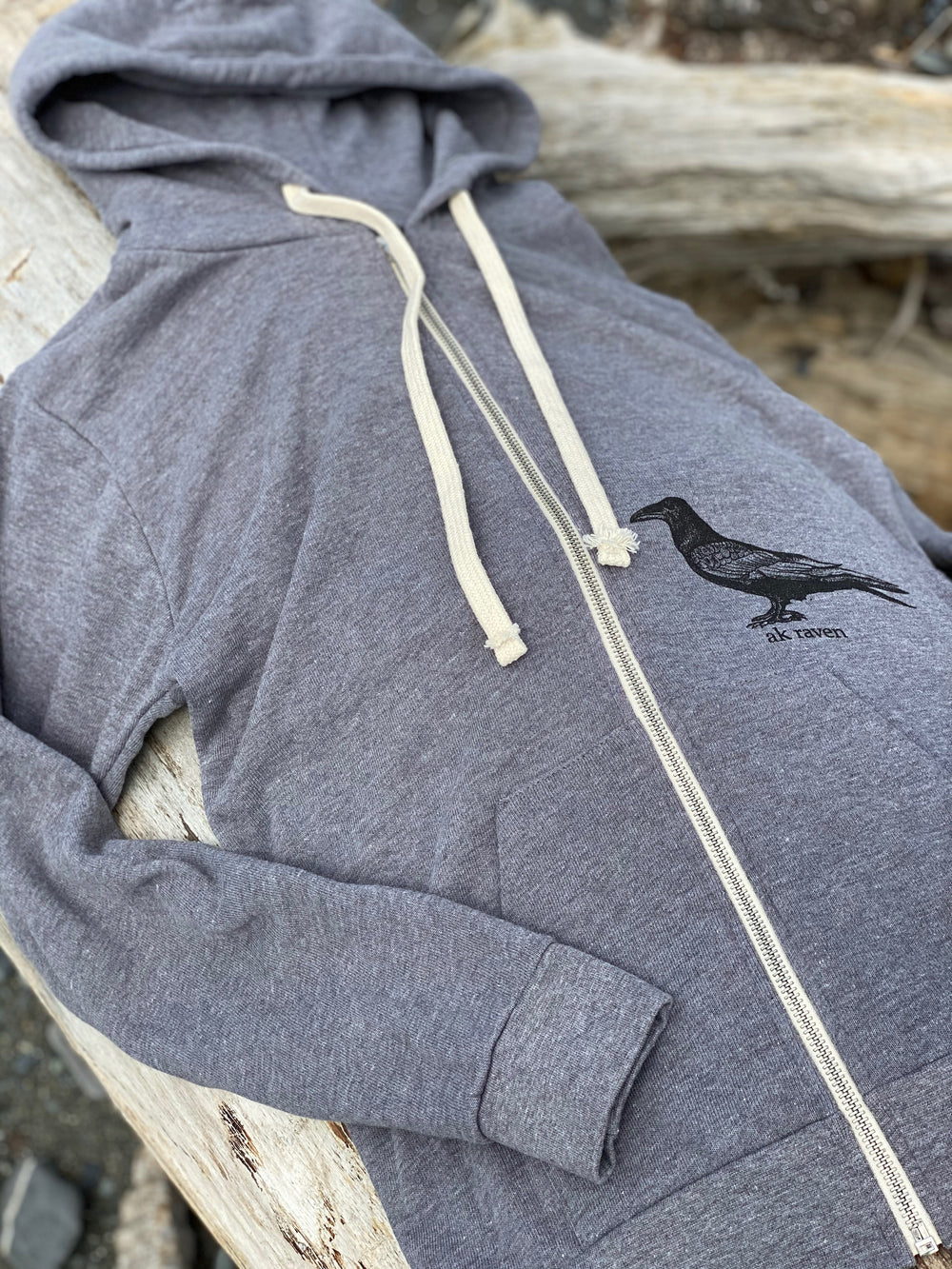Roost Raven French Terry Zipped Hoody $65