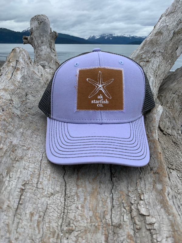 Alpenglow and Slate AK Starfish Co. Patch Hat $35.00