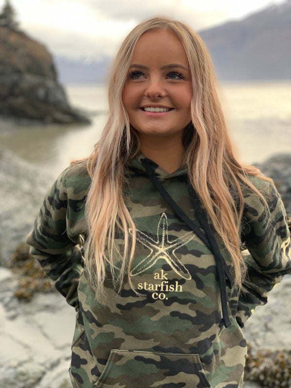 Camo AK Starfish Co. 50/50 Pullover Hoody $60.00