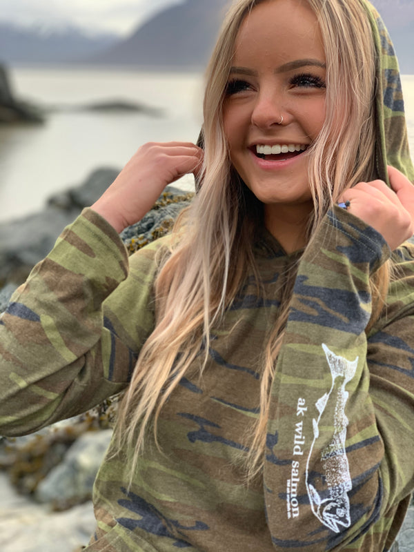 Camo AK Wild Salmon Triblend Light Weight Pullover $55.00