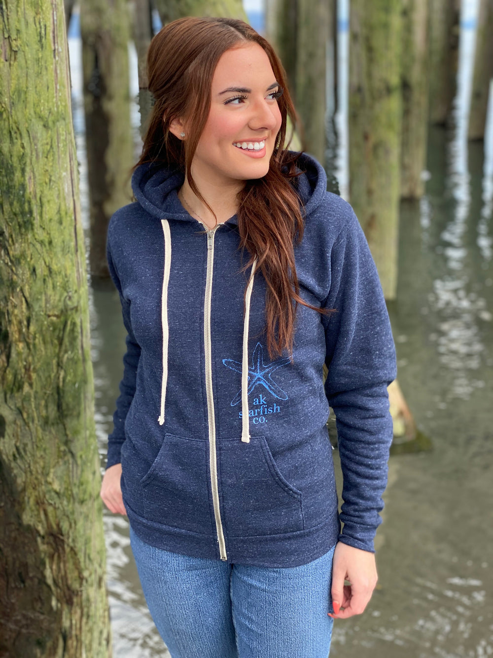 Nautical AK Starfish Co. Unisex Triblend Zipped Hoody
