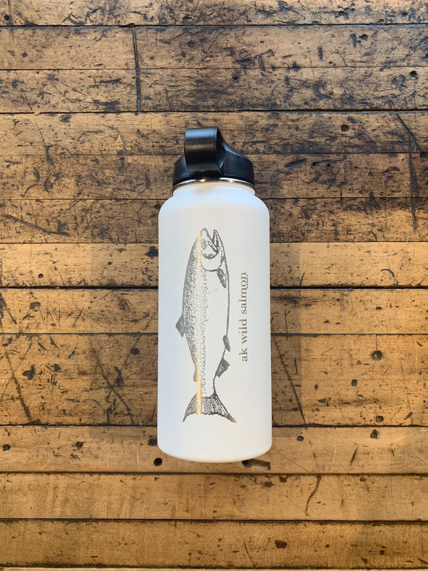 White AK Wild Salmon 32oz Hydroflask (Flex Cap or Straw Lid)