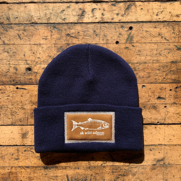 Midnight AK Wild Salmon Patch Beanie $35.00