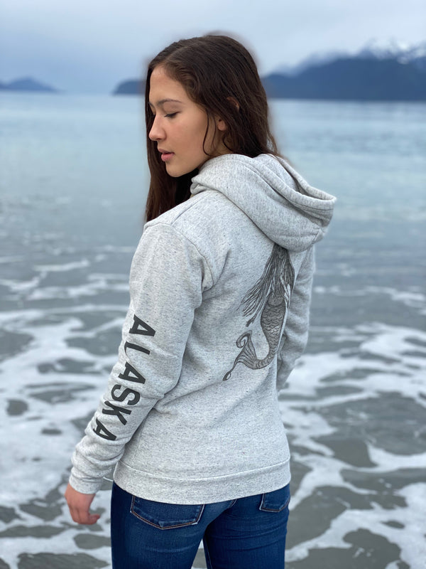 Heather Grey AK Mermaid with ALASKA Sleeve Triblend Zipped Hoody $65.00
