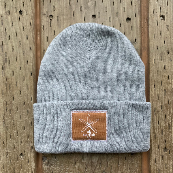 Heather Gray AK Starfish Co. Patch Beanie 35.00
