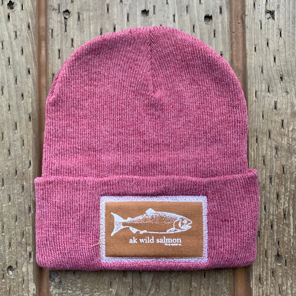 Beach Rose AK Wild Salmon Patch Beanie $35.00