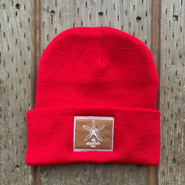 Red AK Starfish Co. Patch Beanie $35.00