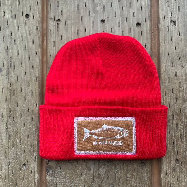 Red AK Wild Salmon Patch Beanie $35.00